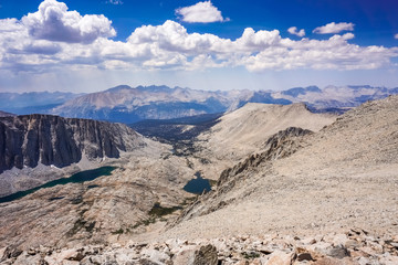 View towards Sequoia National Park and Hitchcock lakes from Mount Whitney summit, Eastern Sierra Mountains, California