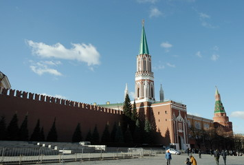 Kremlin wall on red square in Moscow