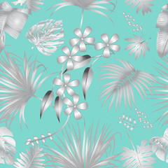 Vector seamless pattern with silver tropical leaves on tiffany blue background.