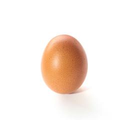 Raw brown chicken eggs on white background
