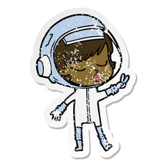 distressed sticker of a cartoon pretty astronaut girl