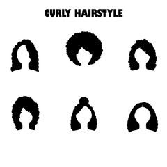 Woman with curly hair silhouettes
