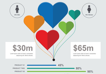Infographic Layout with Multicolored Heart Elements