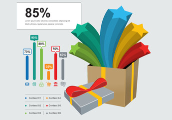 Infographic Layout with 3D Box and Star Illustrations