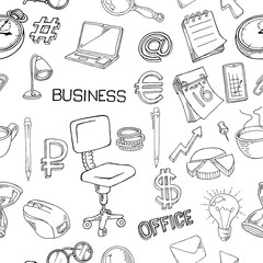 seamless pattern of office supplies. A collection of stationery in doodle style