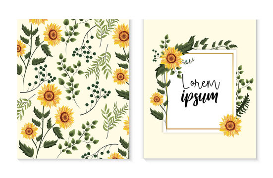 set card with exotic sunflowers and branches leaves