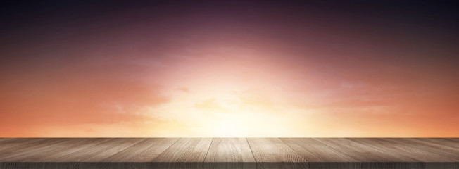 Wood Floor Surface and Sky Horizon Presentation Display Background