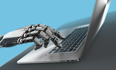 Robotic arm with metallic laptop, artificial intelligence 3d render