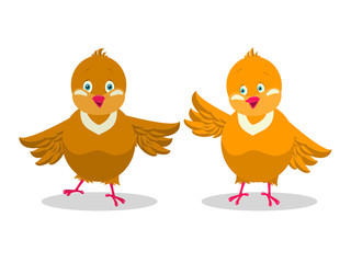 Two funny yellow chicken. Vector illustration.