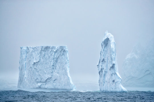 Iceberg pinnacles in the mist
