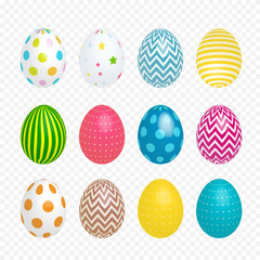 Beautiful painted eggs for Easter on transparent background. Vector Illustration