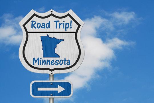 Minnesota Road Trip Highway Sign