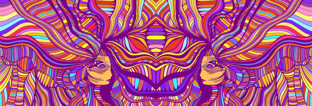 Psychedelic colorfool fantasy caleidoscope girls. Vector hand drawn illustration with fantastic surreal women. Creative doodle style abstract texture.