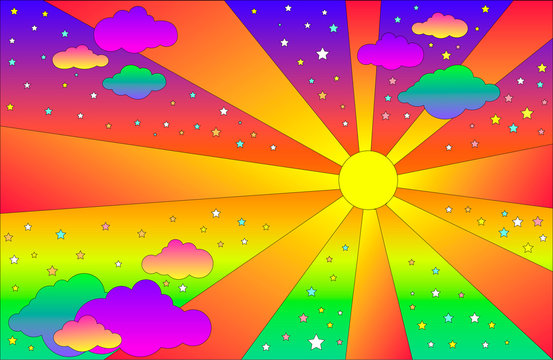 Vintage psychedelic landscape with sun and clouds, stars. Vector cartoon bright gradient colors background. Hippie style art landscape.