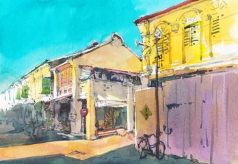 street scene city watercolor hand drawn