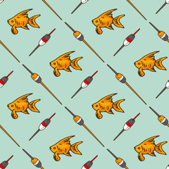 Fishing Floats and Goldfish Seamless Pattern