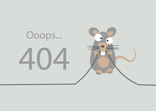 the rat gnawed the cable. 404 Error, page not found. Connection error. Vector illustration