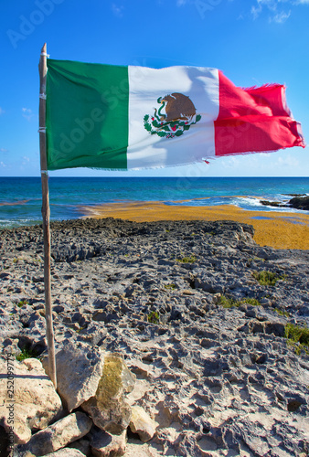 Sunny day  Marine coral and sharp stones  Flag of mexico in paradise