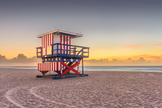 Miami Beach, Florida, USA sunrise and life guard tower