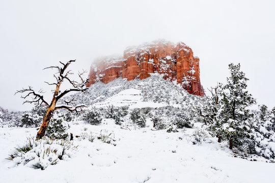 Snow on Courthouse Butte in Sedona, Arizona.