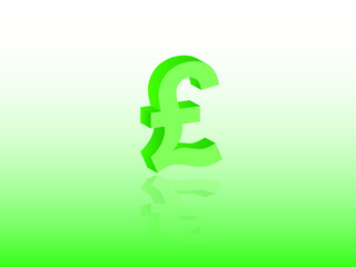 Pound sterling currency vector in green color for Great Britain on light background illustration