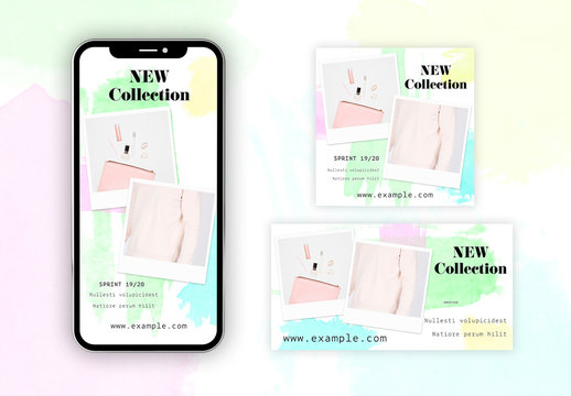 Social Media Layout Set with Instant Film Elements