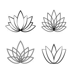 Set of Linear lotus icon. Sketch flower symbols