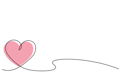 Heart background one line draw, vector illustration.