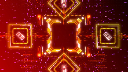 Red neon cyber background. Digital hud illustration. Red, yellow glowing lights.