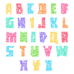 Colorful font with cracks. colored vector letters, uppercase