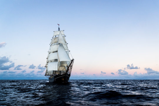 German brig roald amundsen sailing on the atlantic at sunset