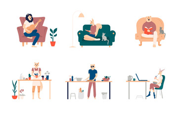Playing guitar, eating sushi, surfing internet, listening to music, reading books, cooking. Bundle of young men and women spending weekend at home. Colored vector illustration in flat cartoon style