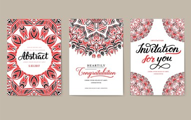 Universal flyer 3x4 with unique decoration. Invitation card for birthday, party or wedding. Traditional illustration design with typography for printing. Vertical festive postcard with invitation text