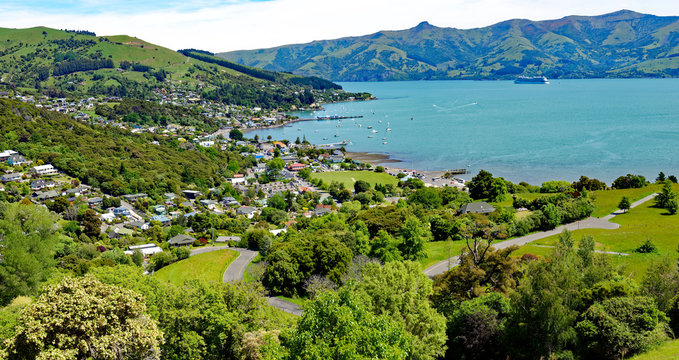 Overlook of the town of Akaroa in the scenic Banks Peninsula on the east coast of the South Island of New Zealand