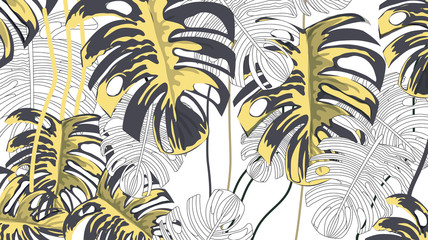 Tropical plants background pattern-vector
