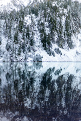 Scenic view of calm lake against snow covered trees in forest