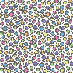 Pastel Leopard Print Seamless Pattern - Cute pastel leopard spots on white background