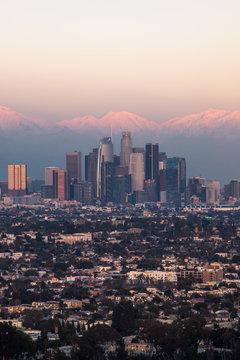 LA Skyline with Snow at Sunset 06