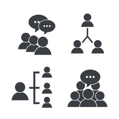 set pictogram social group with chat bubble