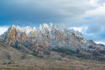 Beautiful snow capped Organ Mountains