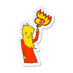 sticker of a cartoon fire spirit
