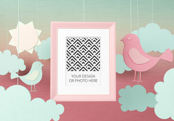 Vertical Photo Frame Mockup on a Paper Cutout Style Background