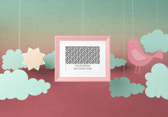 Horizontal Photo Frame Mockup on a Paper Cutout Style Background