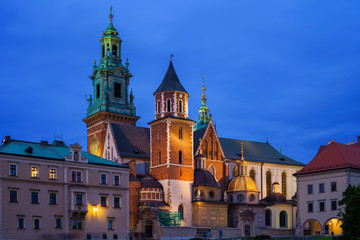 Poland, Krakow, Wawel Cathedral at night