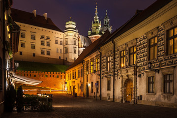 Poland, Krakow, Kanonicza Street to Wawel Castle in Old Town at night