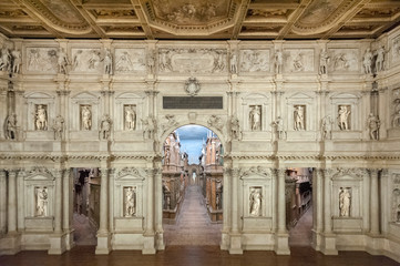 VICENZA, ITALY - DECEMBER 29, 2018: Interior view of the Olympic theatre (teatro olimpico), the oldest surviving stage set still in existence of the renaissance period designed by Andrea Palladio