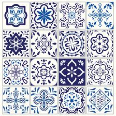 Tile pattern, Lisbon flower mosaic, navy blue ornament - vector
