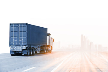 Truck run on road, Drive on road, transportation logistics concept