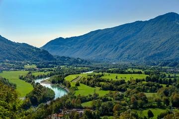 Slovenia, Soca Valley, Soca river, Valley near Kobarid