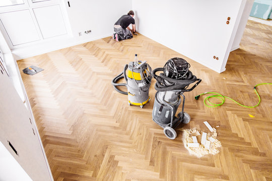 Building site. view from above on parquet floor. to lay parquet.
